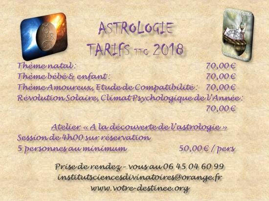 Tarifs astrologie 2019