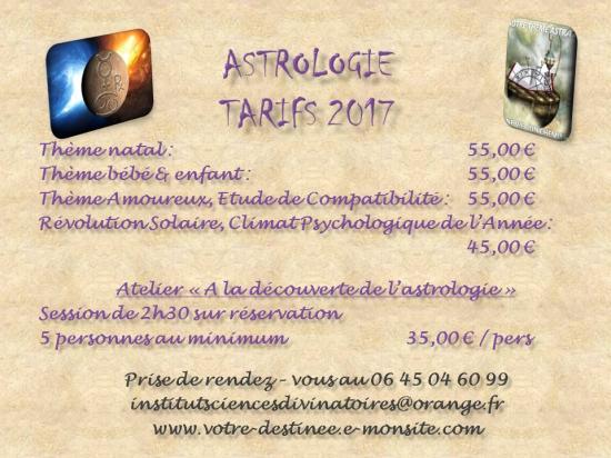 Tarifs astrologie