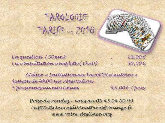 Tarifs tarologie 2018
